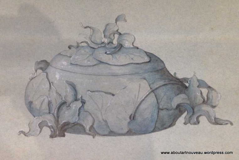 Bonbon Box Cyclamen by Philippe Wolfers 1896 - Drawing