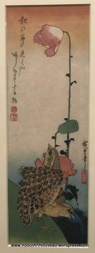1835 Utagawa Hiroshige, Small quails and poppy flower